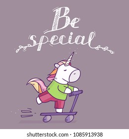 Vector cartoon illustration with character unicorn riding by scooter. Illustration isolated on background. Be special text