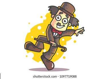 Vector cartoon illustration of Charlie Chaplin dancing with walking stick.