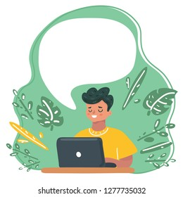 Vector cartoon illustration of Child blogging in internet, learn or gaming, concentrated boy with laptop. Speech bubble above him.