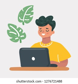 Vector cartoon illustration of child, studying by online learning with laptop. Education and technology games and security concept. Human character on white background.