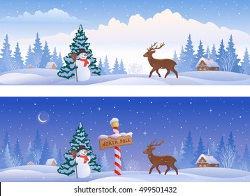 Vector cartoon illustration of Christmas landscapes with a North Pole sign, a snow man and a deer, panoramic banners