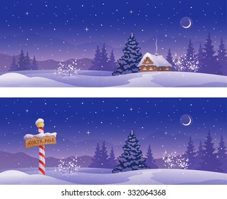 Vector cartoon illustration of Christmas night banners with a North Pole sign and snow covered house