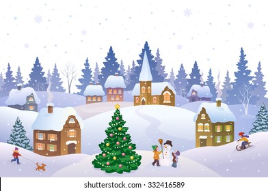 Vector cartoon illustration of a Christmas scene in a small snowy town with playing kids