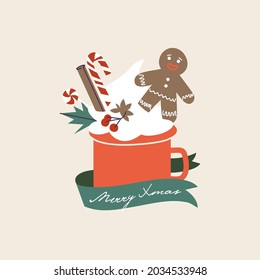 Vector cartoon illustration christmas seasonal card with cup of cacao and cream, gingerbread man and cinnamon, licorice stick. Holiday composition with mug of hot drink