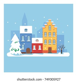 Vector cartoon illustration of Christmas town illustration. Winter landscape. Greeting card with fairy tale houses. Snowy town at holiday eve. Winter city.