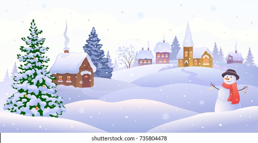 Vector cartoon illustration of a Christmas village scene with a cute snow man