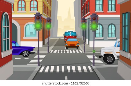 Vector cartoon illustration city crossroad with green traffic lights and cars, intersection of roads. Urban architecture, street with buildings, pedestrian crosswalks and sidewalks, cityscape concept