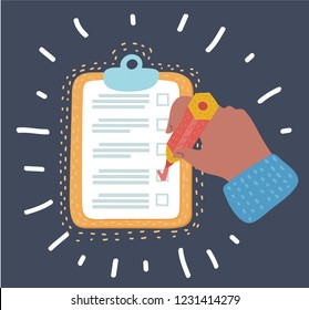 Vector cartoon illustration of clipboard checklist productivity hand check in checkbox with pencil. Object in modern style on dark background.