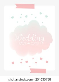 Vector cartoon illustration with cloud and rain of hearts. Can be used for wallpapers, web page backgrounds, Valentine or romantic card, wedding invitation