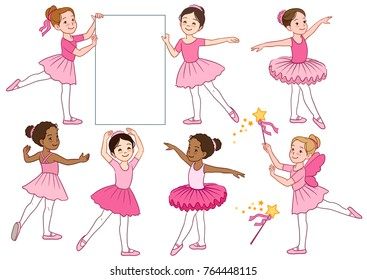 Vector cartoon illustration collection of cute multicultural little ballerina girls characters wearing pink leotards and tutu skirts. Ballet, dance, creative movement themed design elements