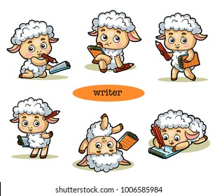 Vector cartoon illustration, colorful set with a funny sheep