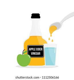 Vector cartoon illustration, concept of drinking apple cider vinegar for detox. Pouring a spoon of apple cider vinegar in glass of fresh water.