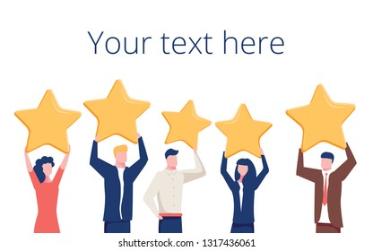 Vector cartoon illustration of Concept of Feedback consumer or customer review evaluation, satisfaction level and critic. Five stars rating style. Human character on dark background.