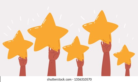 Vector cartoon illustration of Concept of Feedback consumer or customer review evaluation, satisfaction level and critic. Five stars rating style. Hands hold banners with stars on white