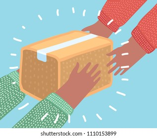Vector cartoon illustration concept for very fast delivery service. Human hands carrying a box. From Hand to hand.