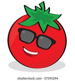 Vector cartoon illustration of a cool tomato wearing sunglasses