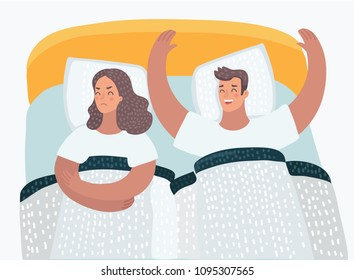 Vector cartoon illustration of couple in bed problems. Offended angry wife. Family psychological problems.