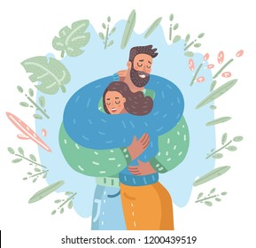 Vector cartoon illustration of couple cuddling. Meeting, farewell Happy family. Love you card.