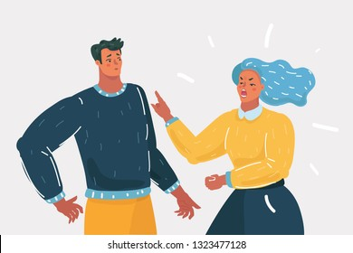 Vector cartoon illustration. Couple of people quarrel and swear. Aggressive woman yell at man. Human character on white background.
