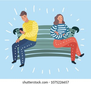 Vector cartoon illustration of Couple quarrel scene. Dispute between lovers, man,woman sitting against each other on bench with disagreement, break in relations.