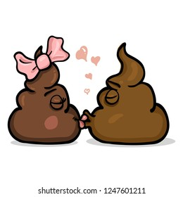 Vector Cartoon Illustration - Couple of Shit Characters are Kissing each other.