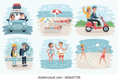 Vector cartoon illustration of couple in summer holidays scene: traveling by car, beach, schooter, take photo, play voleyball. Set of scene on beach, landmark and nature backgrounds.