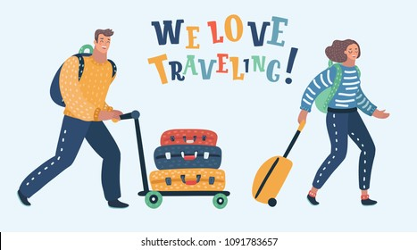 Vector cartoon illustration of couple traveling with luggage.