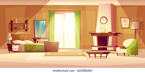 Vector Cartoon Illustration Of Cozy Modern Bedroom, Living Room With Double  Bed, Fireplace,