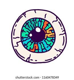 Vector cartoon illustration of creepy  eyeball with colorful iris