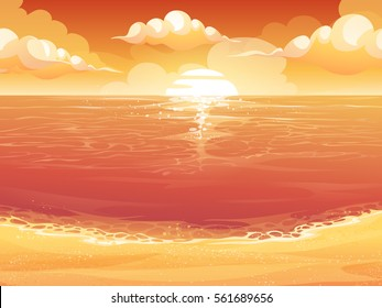Vector cartoon illustration of a crimson sun, sunrise or sunset on the sea. For print, create videos or web graphic design, user interface, card, poster.