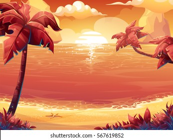 Vector cartoon illustration of a crimson sun, sunrise or sunset on the sea with palm trees. For print, create videos or web graphic design, user interface, card, poster.