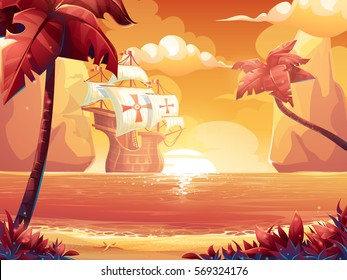 Vector cartoon illustration of a crimson sun, sunrise or sunset on the sea with galleon. For print, create videos or web graphic design, user interface, card, poster.