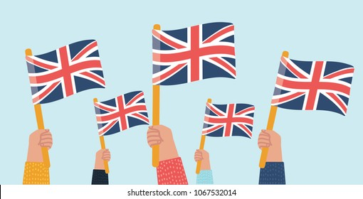 Vector cartoon illustration of crowd. Human hands Hold English Great Britain Flags. Object on isolated background.