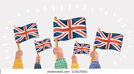Vector cartoon illustration of crowd. Human hands Hold English Great Britain Flags. Cerebration, demonstration, fans. Object on isolated background.