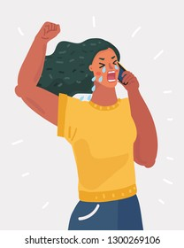 Vector cartoon illustration of Crying Lonely Woman Phone Call. Unhappy.Tears On The Face, Disappointed Girl. Female character on white background.