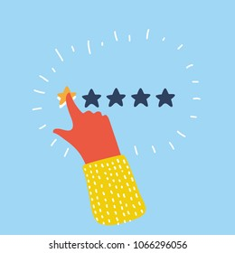 Vector cartoon illustration of customer review concept. Rating golden stars. Feedback, reputation and quality concept. Hand pointing, finger push to one star rating. Bad rate, negative experience