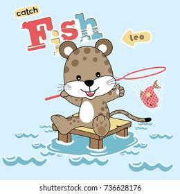 vector cartoon illustration of cute animal catching fish