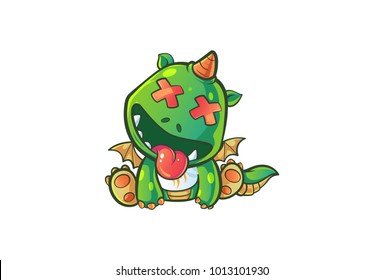 Vector cartoon illustration of cute baby dragon's eyes closed . Isolated on white background.