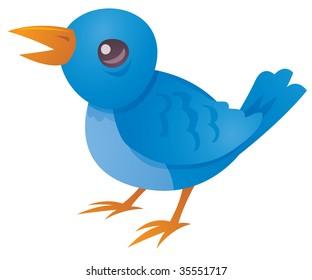 Vector cartoon illustration of a cute blue bird