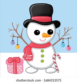 Vector cartoon illustration of a cute Christmas Snowman with a gift. Character isolated on white background.