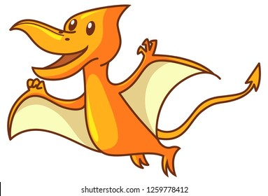Vector cartoon illustration. Cute dinosaur pteranodon is flying . Isolated on white background.