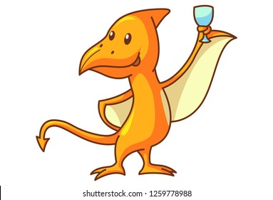 Vector cartoon illustration of cute dinosaur pteranodon with beer glass. Isolated on white background.