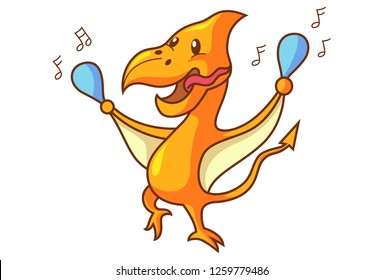 Vector cartoon illustration of cute dinosaur pteranodon dancing. Isolated on white background.