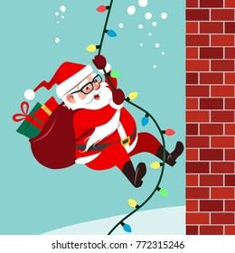 Vector cartoon illustration of cute friendly Santa Claus climbing a rope of string Christmas lights up brick wall carrying bag of gifts. Funny humorous winter holiday flat style design element.