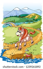 Vector cartoon illustration of cute and funny horse