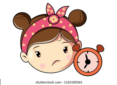Vector cartoon illustration of cute girl with alarm clock. Isolated on white background.