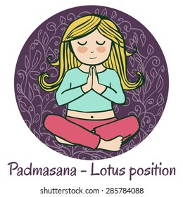 Vector cartoon illustration of a cute girl doing yoga on violet background. Padmasana or Lotus position.