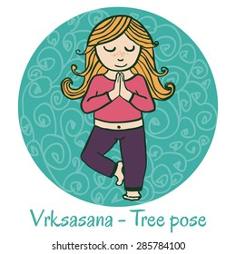 Vector cartoon illustration of a cute girl doing yoga on green background. Vrksasana or Tree pose.