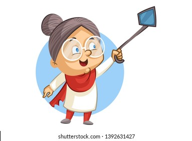 Vector cartoon illustration of cute grandmother clicking  selfie with selfie-stick. Isolated on white background.