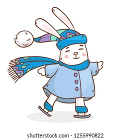Vector cartoon illustration with cute happy rabbit in hat and scarf ice skating on white background